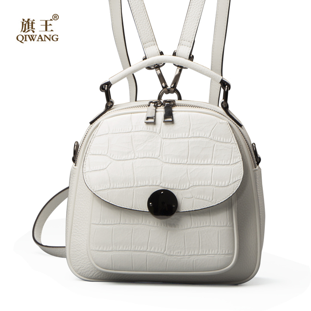QIWANG Genuine Leather Backpack Woman Beige Bag Luxury Backpacks ...