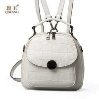 QIWANG Genuine Leather Backpack Woman Beige Bag Luxury Backpacks Purse Ladies Travel Bag Small Backpack For