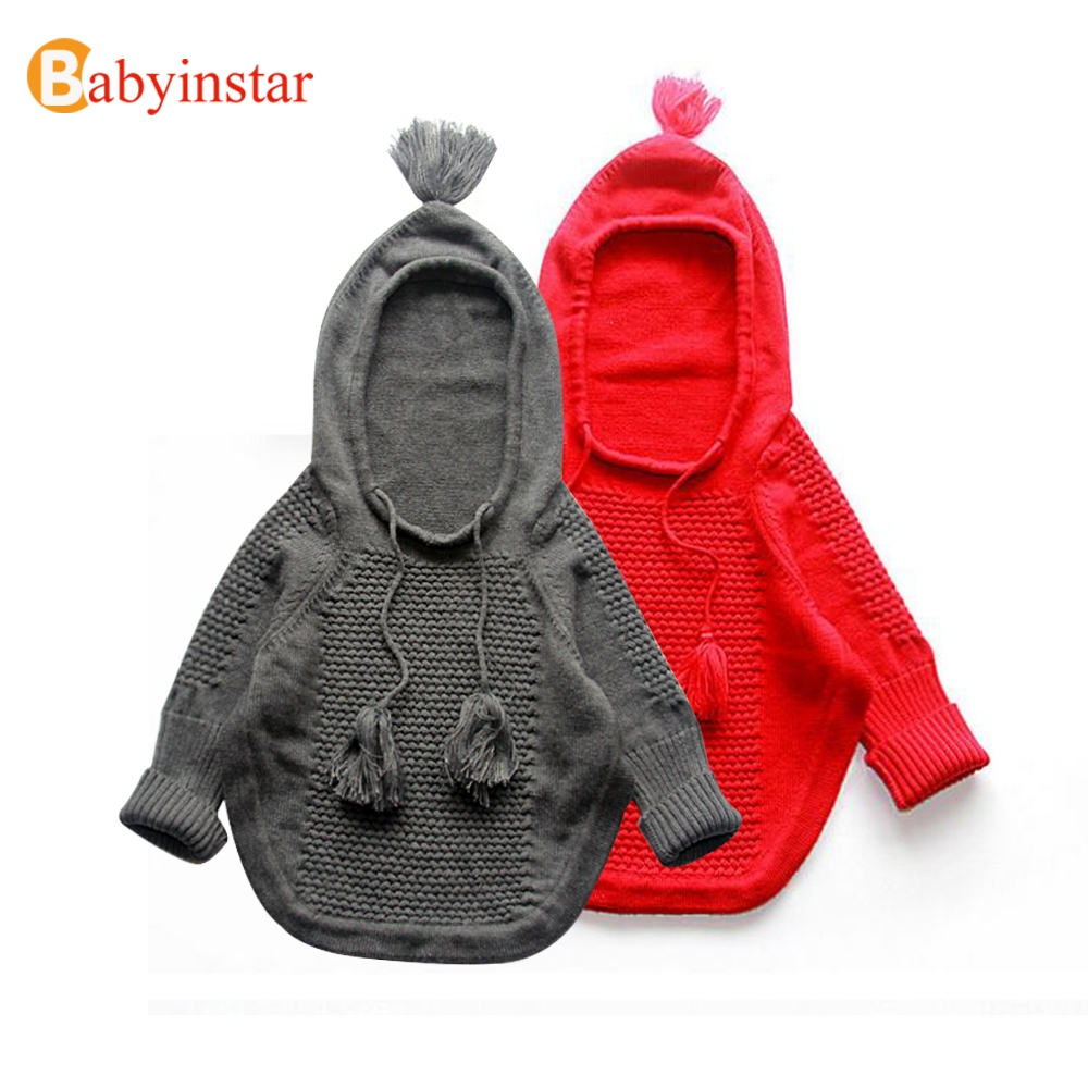 Babyinstar Knitted Boys Girls Sweaters Pullovers Poncho Cloak 2017 Autumn Spring Hooded Children Clothing Kids Knit Sweaters babyinstar girls sweater cloak 2018 children cotton sweater coats turtleneck tassel cloak girls sweaters cape kids knit cardigan