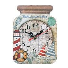 Reloj de mesa de estilo europeo con bonito tarro de caramelo, reloj de mesa de madera para decoración de habitación de niños, reloj de mesa artesanal Vintage con alarma