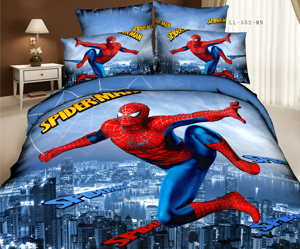 Spiderman bed set - Super Man Pure Cotton 3d Bedding Set 3d Spider Man Bed Set Bedsheets Cartoon Ice Princess Bed Sets Queen Size Duvet Cover In Bedding Sets From Home Garden