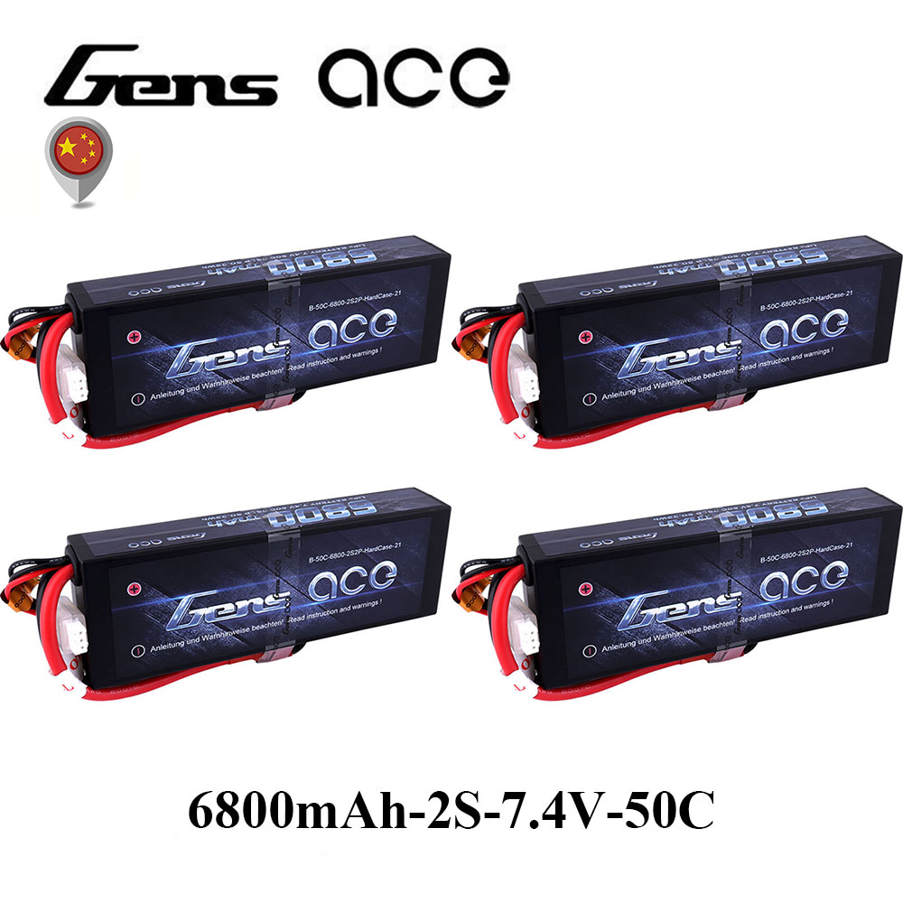 4Pcs Gens ace Lipo 2S Battery 6800mAh 7.4V Batteria Pack 50C-100C Deans Connector for RC Car 1/8 1/10 Hardcase High Discharge mos rc airplane lipo battery 3s 11 1v 5200mah 40c for quadrotor rc boat rc car