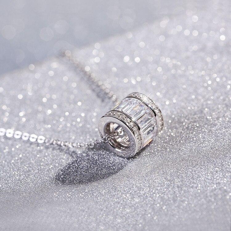 Prix pour Flyleaf 925 Sterling Argent Cylindre Colliers et Pendentifs Pour Les Femmes De Mode Dame Cubique Zircone Diamants Sterling-argent-bijoux