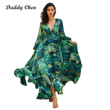 Daddy Chen Summer Boho Dress Beach Puff Sleeve Dresses Robe Ball Gown Plus Size V Neck Long Longue Vestido Ankle-Length Natural