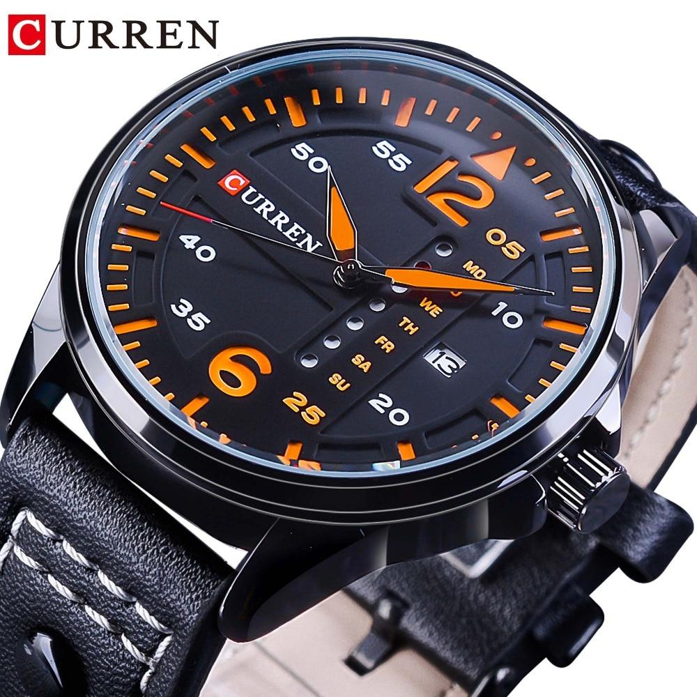 CURREN Orange 2018 Racing Design Mens Quartz Waterproof Watches Top Brand Luxury Black Genuine Leather Belt Fashion Sport Clock