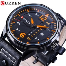 CURREN Orange 2018 Racing Design Mens Quartz Waterproof Watches Top Brand Luxury Black Genuine Leather Belt Fashion Sport Clock