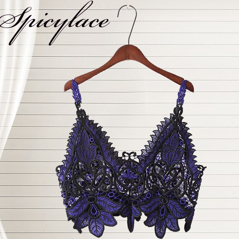 Spicylace 2018 Summer Women Off Shoulder Europe Crop Top Lace Embroidery Ultra-short Sexy Perspective Camisole jacket