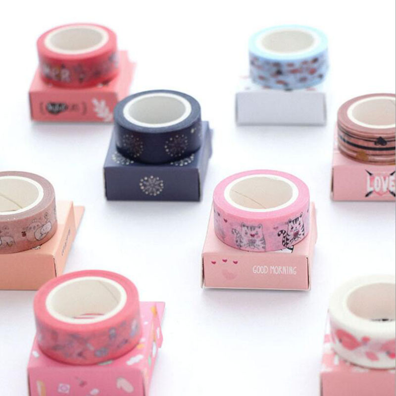 Kawaii Cute Cartoon Animal Adhesive Masking Tape Notebook Craft DIY Decor Tape School Supply Student Stationery Kids Gift