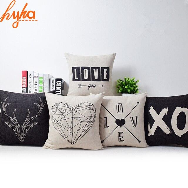 Romantico Moderno Semplice Beige Amore Stella Pattern Pillow Case Cervi e Panda Sedia Piazza Tiro Copertura del Cuscino Cuscini Decorativi