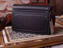 100% Genuine Leather Women's High Quality Small Handbag Luxury Brand Square Striped Bag Metal Chain Shoulder Bag Free Shipping