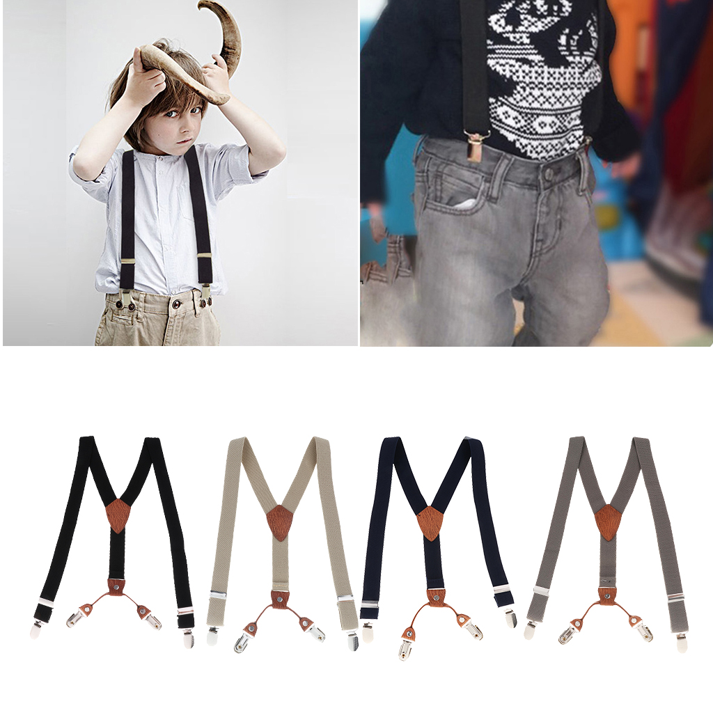 Toddler Kids Boys 4 Clips Adjustable Trousers Suspenders Children Striped Elastic Clip-on Braces Y-Strap For Party
