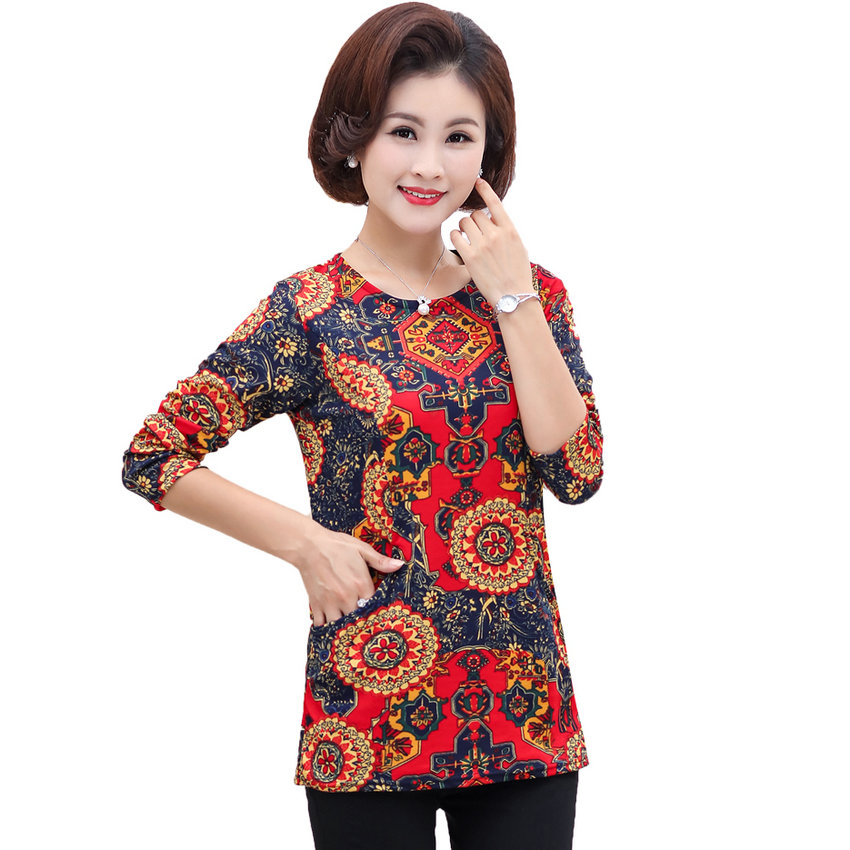 Chinese Woman Autumn Blouses Flower Tops Women Basic Tunic Round Collar Long SLeeve Blouse Lady Plus Size Leisure Top Mother 4XL 1
