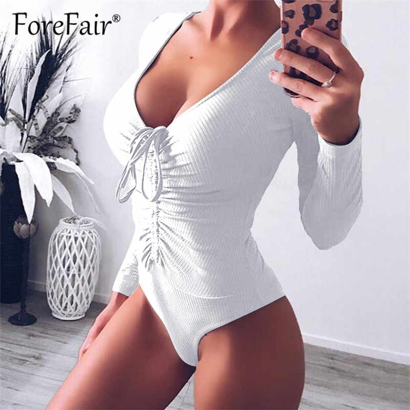 e392010ab2c7 ... Forefair Slim Black Bodysuit Autumn Winter Rompers Womens Jumpsuits  Long Sleeve V Neck Drawstring Ruched Skinny ...