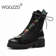 2019 New 영국 겨울 화 Boots Women Motorycycle Boots 소 Suede Zipper Ankle Boots 대 한 Women Bottes Femme(China)