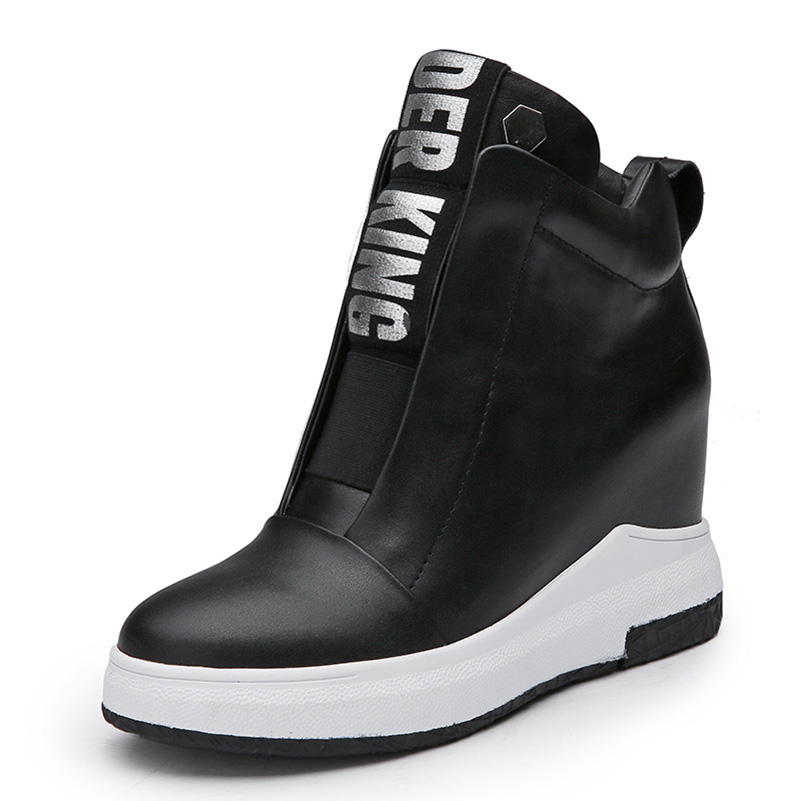 2017 Women Shoes Genuine Leather Height Increasing Flat Platform Women Ankle Boots Letter Black White 2017 women warm boots genuine leather height increasing cut out flat platform short plush women ankle boots
