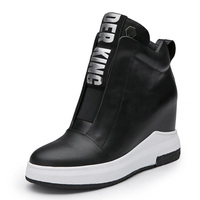 2018 Women Shoes Sneakers Genuine Leather Height Increasing Flat Platform Women Ankle Boots Letter Black White
