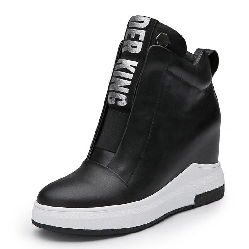 2018 여성 구두 운동화 정품 가죽 높이 증가 플랫 플랫폼 여성 발목 부츠 편지 블랙 화이트-에서앵클 부츠부터 신발 의  그룹 1