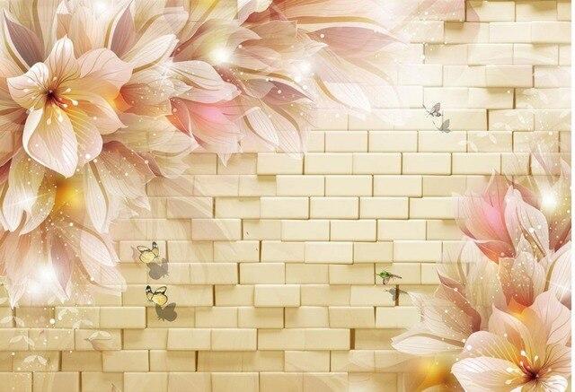 stereoscopic 3d tv backdrop flower mural 3d wallpaper flower wallpaper brick wall home decoration - Flower Wallpaper For Home