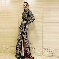 Оптовая продажа 2019 новые черные длинные рукава высокого качества Модные женские роскошные знаменитости вечерние коктейльное вечернее дли