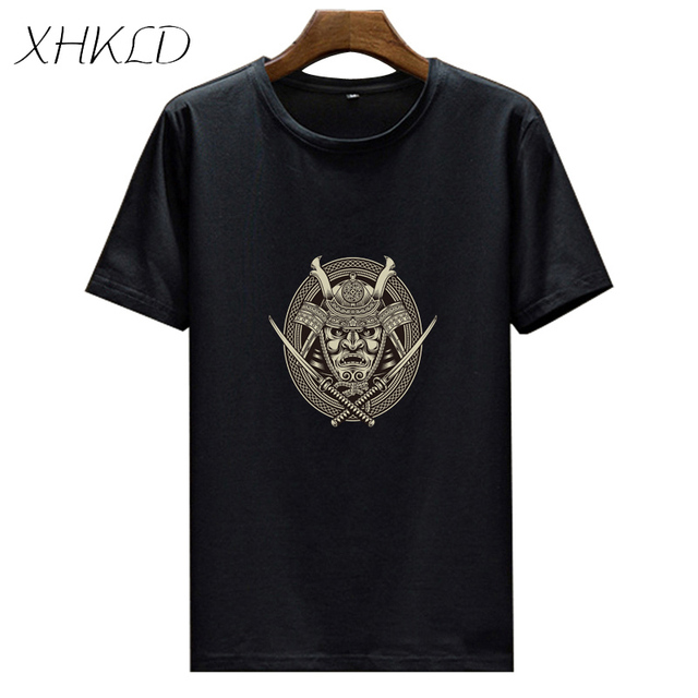 XHKLD Brand Mens T Shirt Japanese Soldier Warrior Samurai Casual White Short Sleeve shirt funny male Cotton o-neck top tees