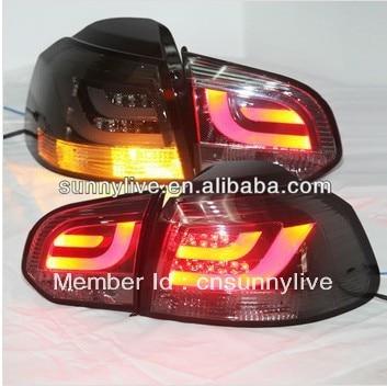For VW Golf 6 LED Tail Lamp smoke cover & chrome housing V6 SN Style