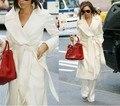 2016 женская Мода белый кашемировые пальто большой нагрудные шерсть куртка плюс размер свободные длинные пальто тонкий плюс сиз осень зимнее пальто