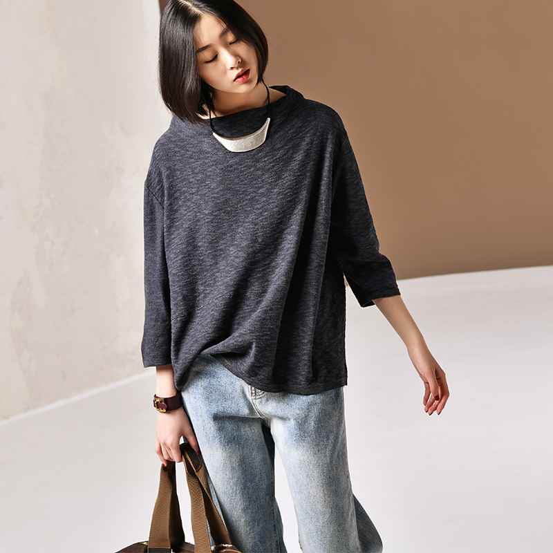 Z3089 Literary large size basin collar cotton thread nine points sleeve loose sweater