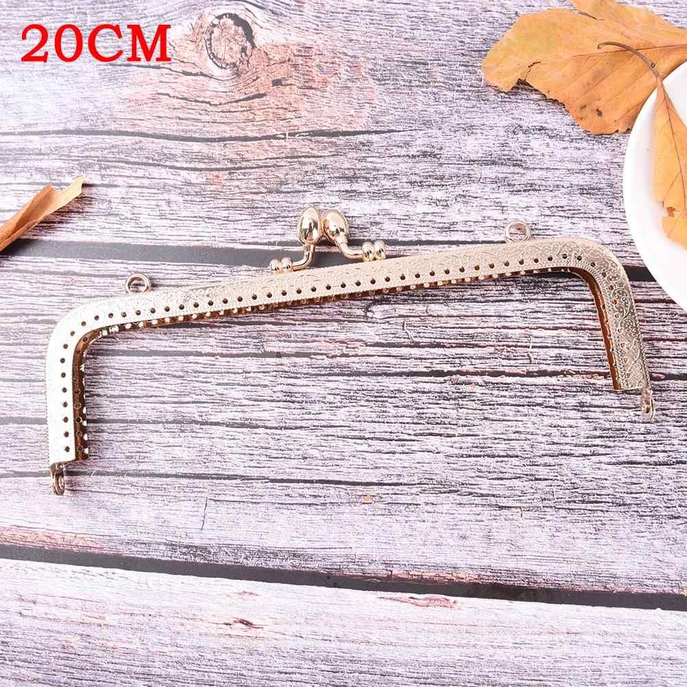 ライトゴールド DIY 財布ハンドバッグハンドル 5 サイズコインバッグ金属キスクラスプロックフレーム 8.5-20 センチメートル DIY 財布バッグアクセサリー