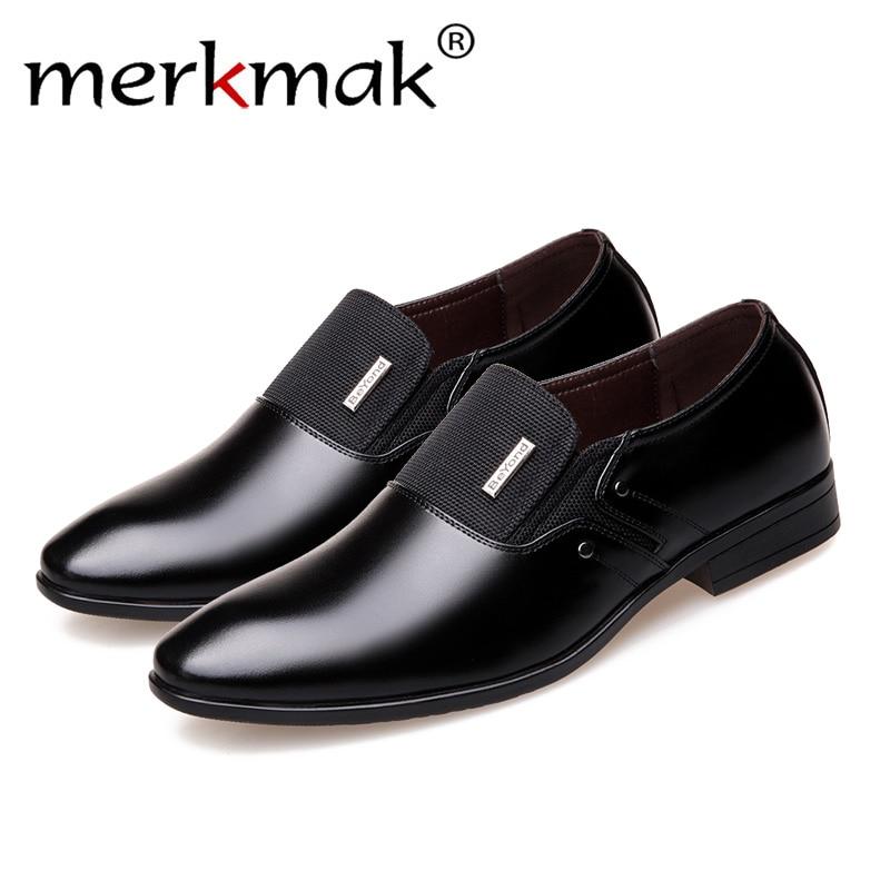 Merkmak Spring Autumn Men Formal Wedding Shoes Luxury Men Business Dress Shoes Men Loafers Pointy Shoes Big Size 38-47