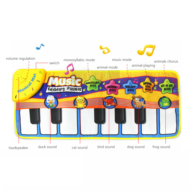 Educational Gift Funny Music And Animal Sounds Baby Piano Playing Toy Mat For Kids Present Free shipping