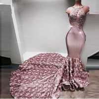 Luxury Evening Gowns Off Shoulder Sexy Prom Dresses Mermaid Long Evening Dress Dusty Pink Beaded Backless Vestido De Festa
