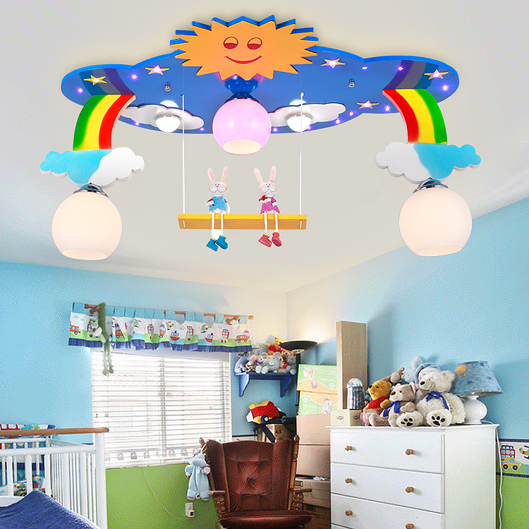 Creative Cartoon childrens room bedroom ceiling lamp Rainbow sun boy Princess cartoon children room lighting