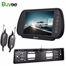 купить Buyee 7 inch Auto TFT LCD Color Rearview Mirror Monitor with Wireless Car Rear View Reverse Parking Camera EU number plate frame онлайн