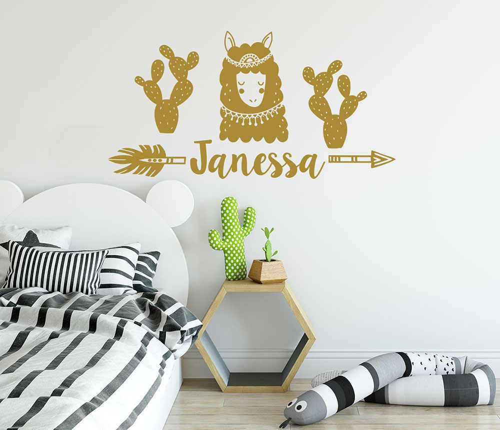 Nordic Wall Decal Girl Name Llama Alpaca Arrow Vinyl Stickers Personalized  Name Cactus Nursery Bedroom Kids Custom Decor D238