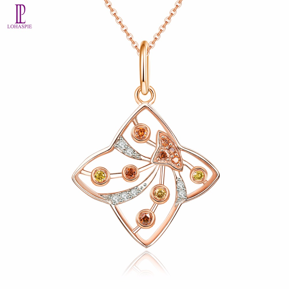 Diamond-Jewelry Rose Gold Pendant Solid 18K 750 Blue Yellow Red Diamond Fine Fashion Stone Jewelry For Women's Gift Lohaspie dominoes 1 blue diamond ne