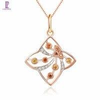 Diamond Jewelry Rose Gold Pendant Solid 18K 750 Blue Yellow Red Diamond Fine Fashion Stone Jewelry For Women's Gift Lohaspie