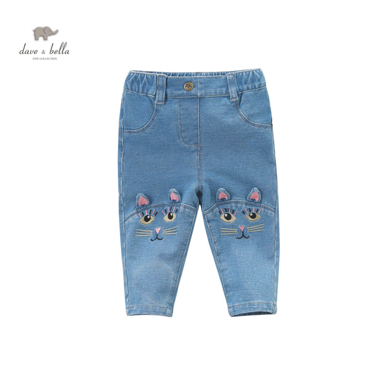 DB4866 dave bella spring latest baby girls jeans children cute embroidery jeans fancy pants
