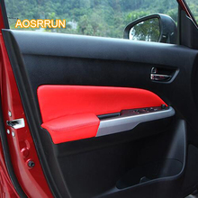 AOSRRUN Inside door of plank is genuine leather cover Car accessories For Suzuki vitara 2016 2017