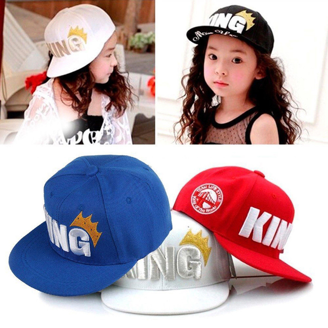 Summer Toddler Baby Boy Girl Kids Baseball Cap Unisex Cotton King Letter  Solid Adjustable Sun Hat 4a03e9104db
