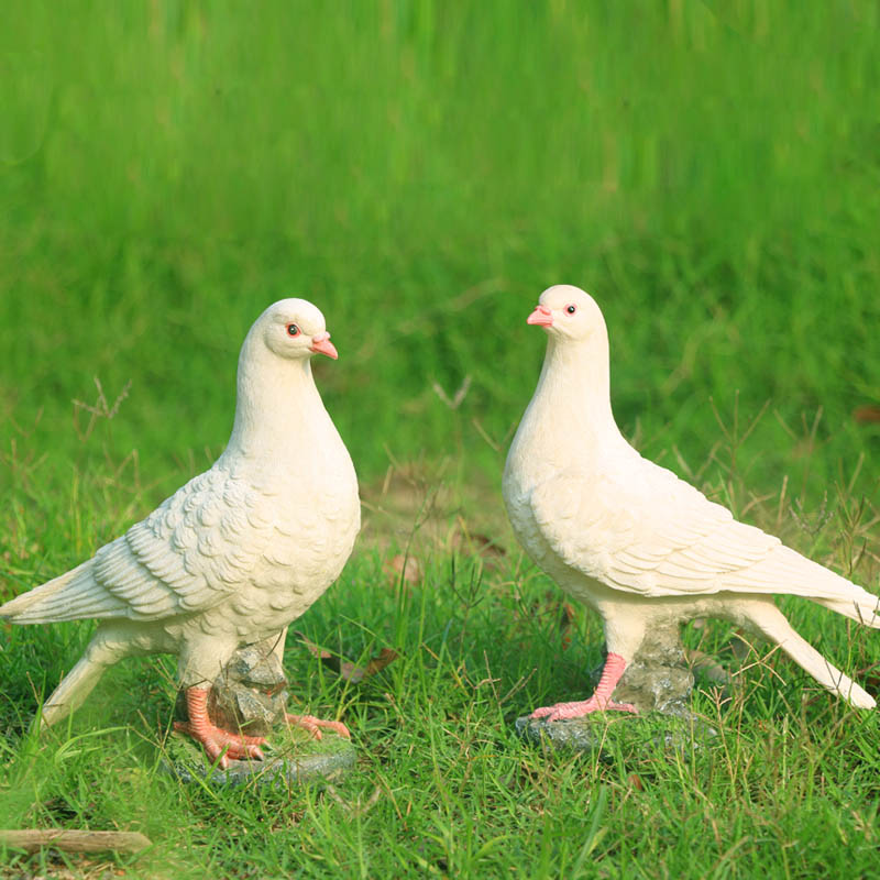 house decoration white dove animal sculpture resin home decoration 2 pcs dove pigeon bird of peace resin garden decoration