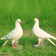 house decoration white dove animal sculpture resin home decoration 2 pcs dove pigeon bird of peace