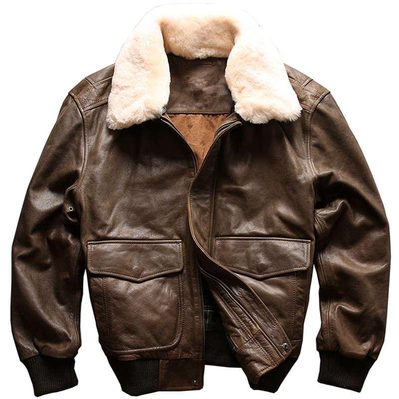 2018 Brown USAF A2 Pilot Leather Jacket Wool Collar Genuine Thick Cowhide Winter Russian Leather Aviator Coat XXL FREE SHIPPING