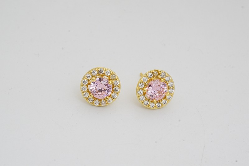 Pink Style Wedding Jewelry Sets Gold Color Fashion Earrings Rings For Women cz crystal Accessories birthday gift 2