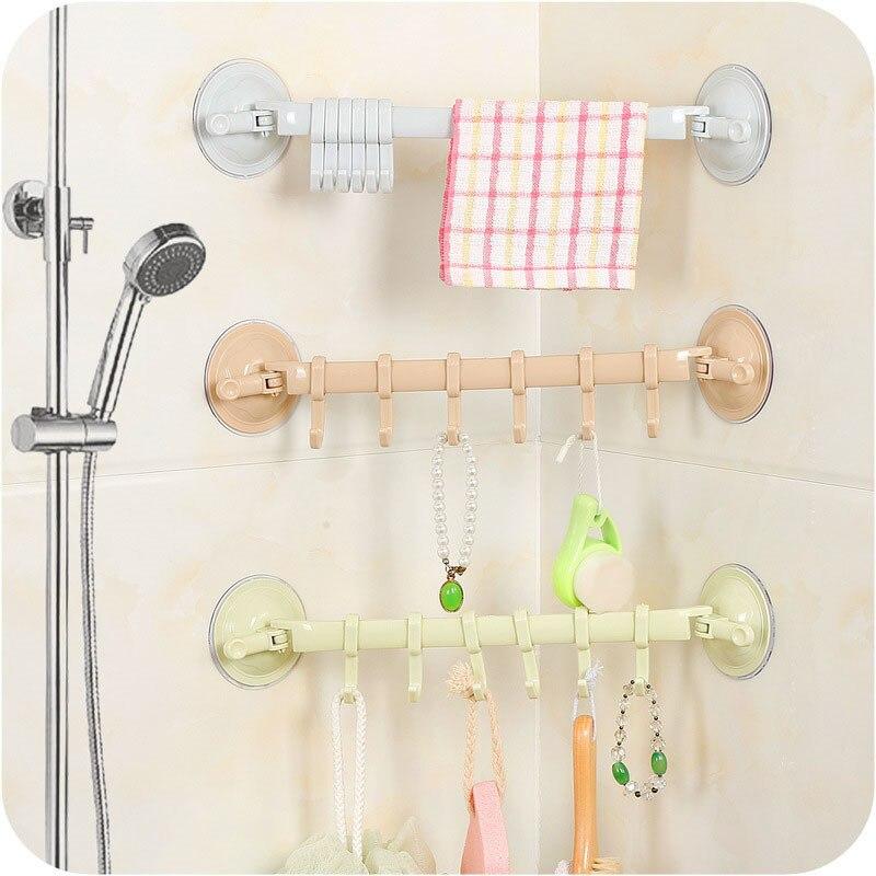 1PC Adjustable Hook Rack Double Suction Cup Rack Hanging Shelves Hook Holder Lock Type Kitchen Orgnizer Bathroom Accessories