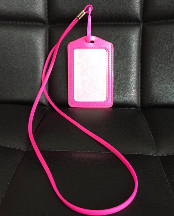 1pcs Pink Color Vertical PU Work Card ID Business Card Badge Holder + Silicone Neck ID Lanyard Strap With Plastic Clip