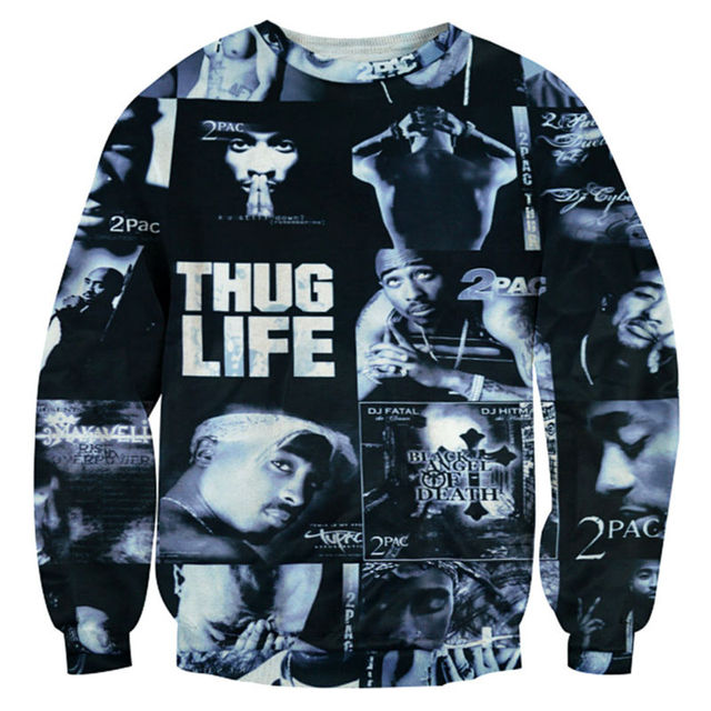 c490c8426 Tupac 2PAC Men Sweatshirt New Fashion 3D Print Thug Life Letter Hoodie Cool  Streetwear HipHop Style Crewneck Tops Clothing Homme