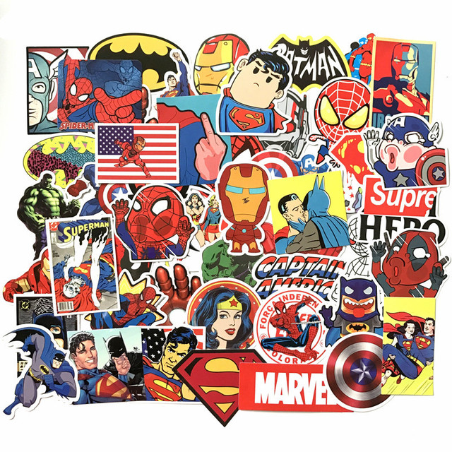 50 pçs/lote Adesivos Vingadores Marvel Super Hero Notebook Laptop Carro Decalque Frigorífico Skate Batman Superman Hulk Homem De Ferro Toy kids
