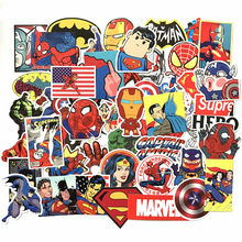 50 pçs/lote Adesivos Vingadores Marvel Super Hero Notebook Laptop Carro Decalque Frigorífico Skate Batman Superman Hulk Homem De Ferro Toy kids(China)