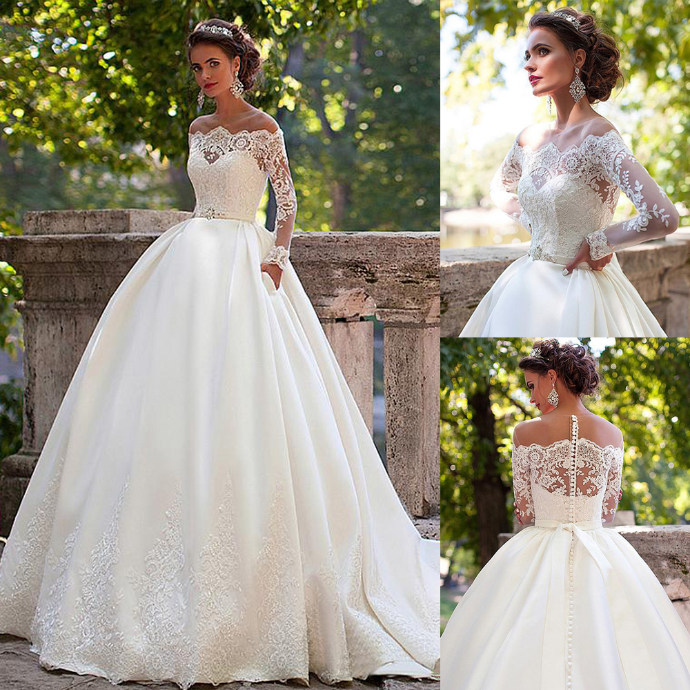 Stunning Tulle Jewel Neckline Ball Gown Wedding Dresses With Lace Appliques Long Sleeves Bridal Gown With Pocket