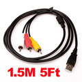 5Ft 1.5M USB A Male to 3 RCA Cable High Quality USB to RCA Cord for Audio & Video Cables